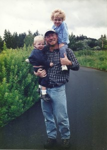 Ken with his kids when he first moved to the Pacific Northwest